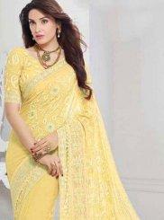 Yellow Embroidered Faux Chiffon Classic Saree