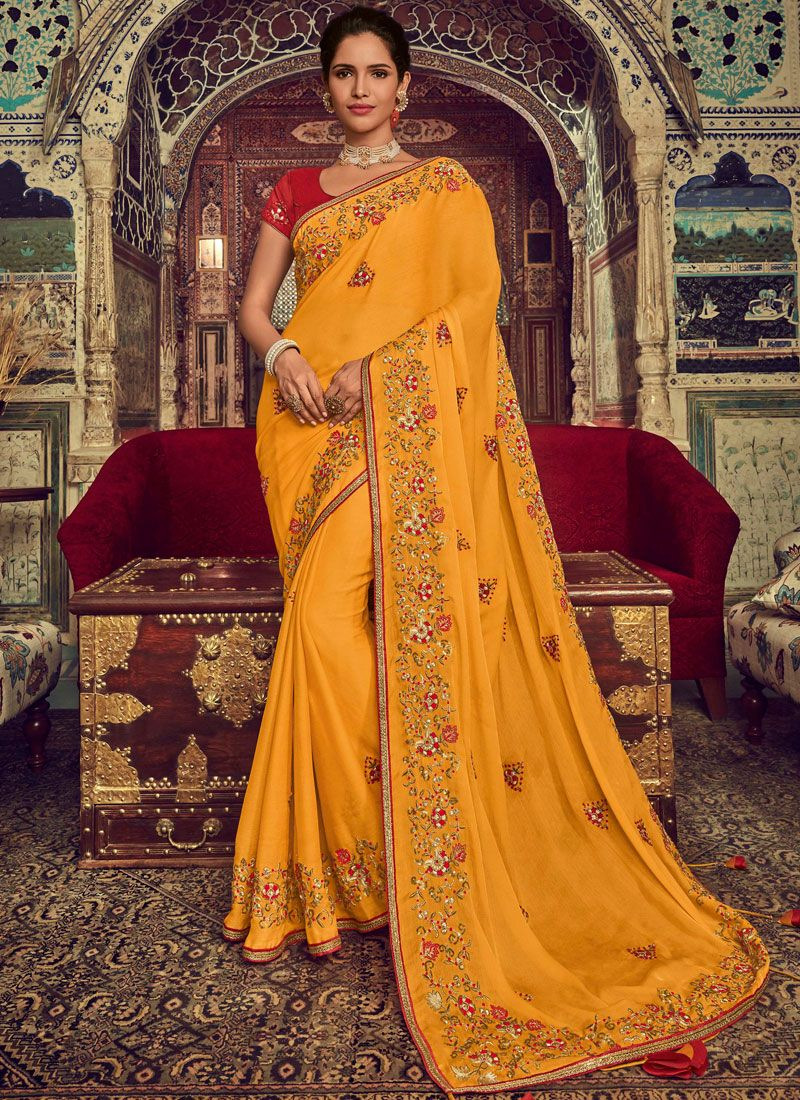 Yellow Embroidered Faux Chiffon Traditional Designer Saree