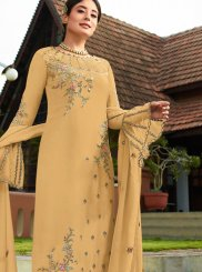 Yellow Embroidered Faux Georgette Pant Style Suit