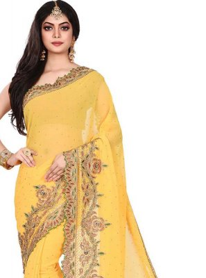 Yellow Embroidered Festival Designer Traditional Saree