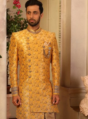 Yellow Embroidered Jacquard Silk Indo Western