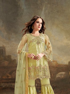 Yellow Embroidered Pakistani Salwar Suit