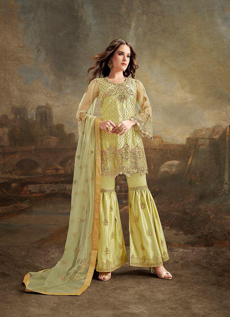 Yellow Embroidered Pakistani Salwar Suit