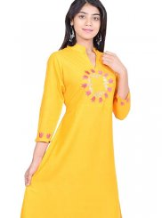 Yellow Embroidered Party Casual Kurti