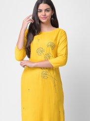 Yellow Embroidered Rayon Designer Kurti
