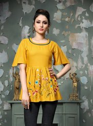 Yellow Embroidered Rayon Party Wear Kurti