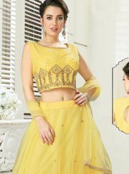 Yellow Embroidered Readymade Gown