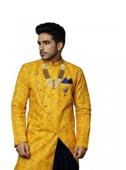 Yellow Embroidered Reception Kurta Pyjama