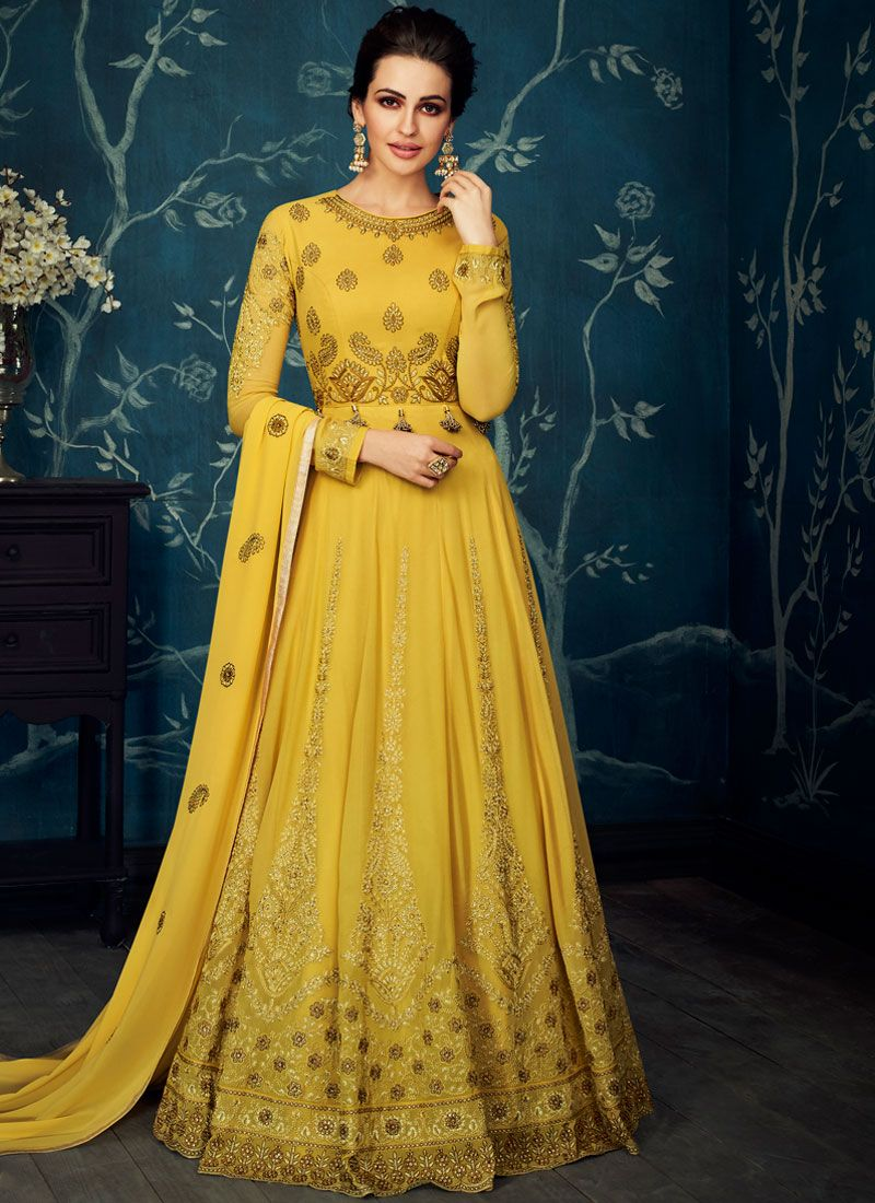 Yellow Embroidered Sangeet Anarkali Suit