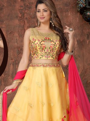Yellow Embroidered Sangeet Readymade Lehenga choli