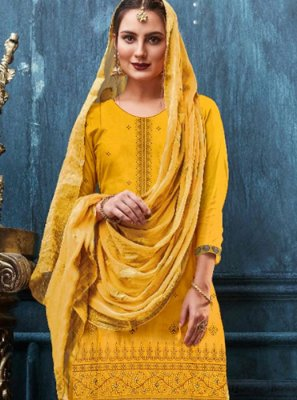 Yellow Embroidered Satin Designer Patiala Suit