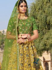 Yellow Embroidered Silk Trendy A Line Lehenga Choli