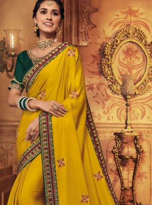 Yellow Embroidered Traditional Designer Saree