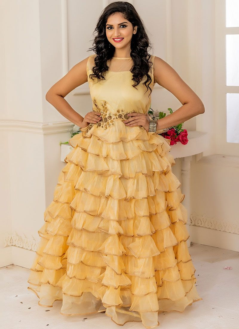 Yellow Embroidered Trendy Gown