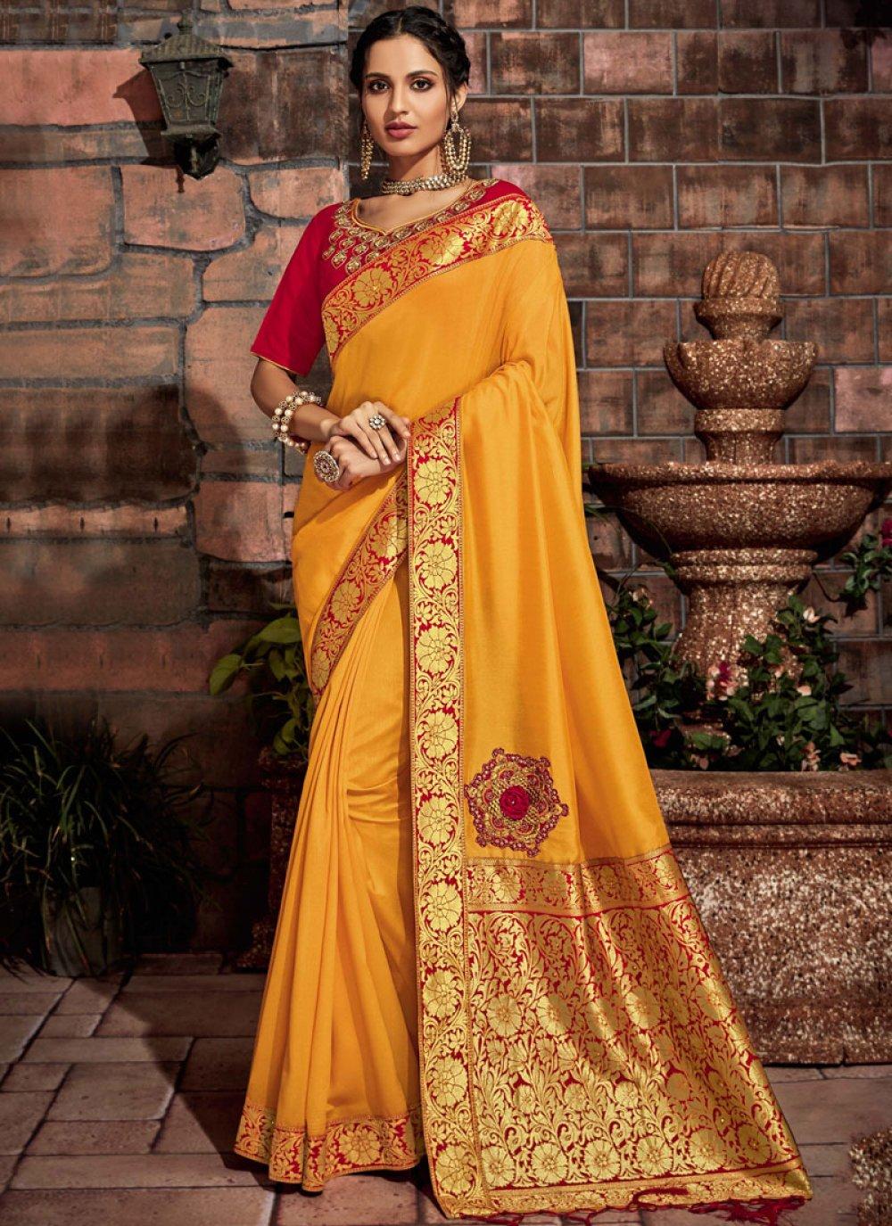 Yellow Embroidered Tussar Silk Designer Saree