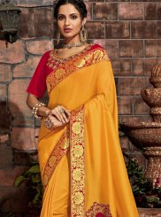 Yellow Embroidered Tussar Silk Designer Saree