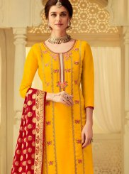 Yellow Embroidered Viscose Designer Salwar Suit