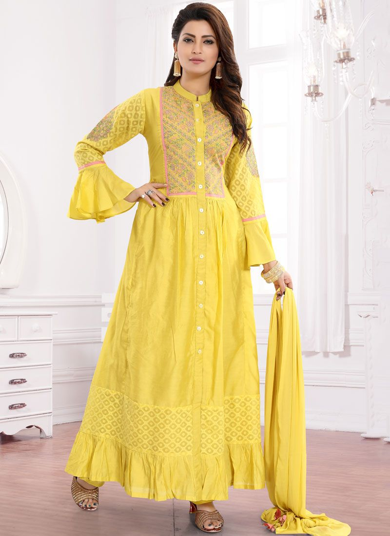 Yellow Embroidered Wedding Readymade Suit
