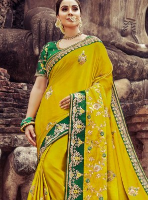 Yellow Embroidered Wedding Traditional Designer Saree