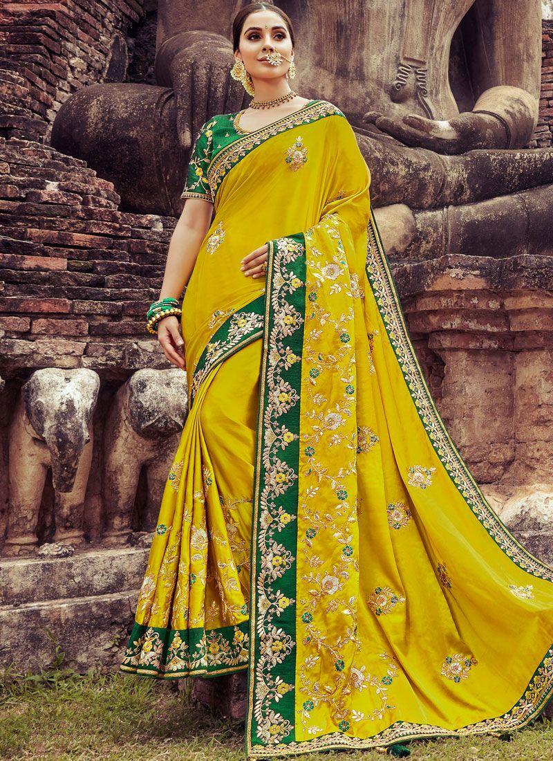 Yellow Embroidered Wedding Traditional Designer Saree