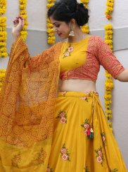 Yellow Fancy Fabric Readymade Lehenga Choli