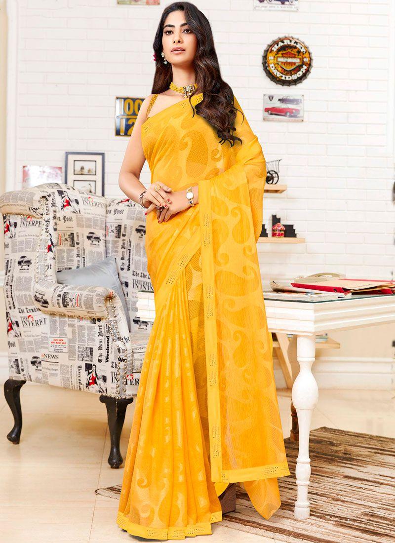 Yellow Fancy Faux Chiffon Saree