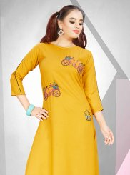 Yellow Fancy Party Wear Kurti