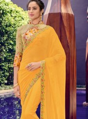 Yellow Faux Chiffon Trendy Saree