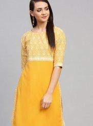 Yellow Faux Crepe Print Party Wear Kurti