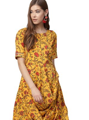 Yellow Faux Crepe Readymade Designer Suit