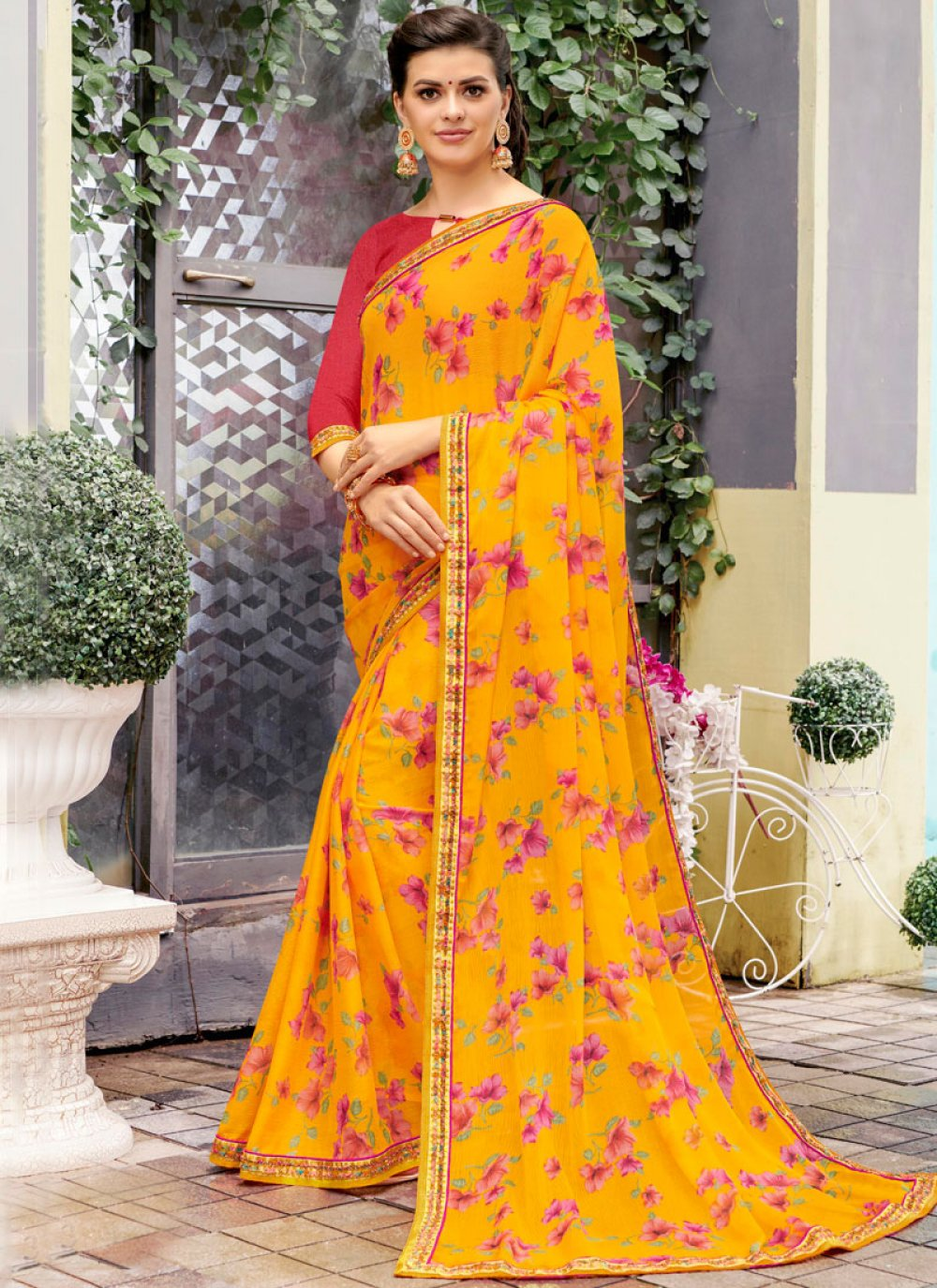 Yellow Faux Georgette Printed Classic Saree