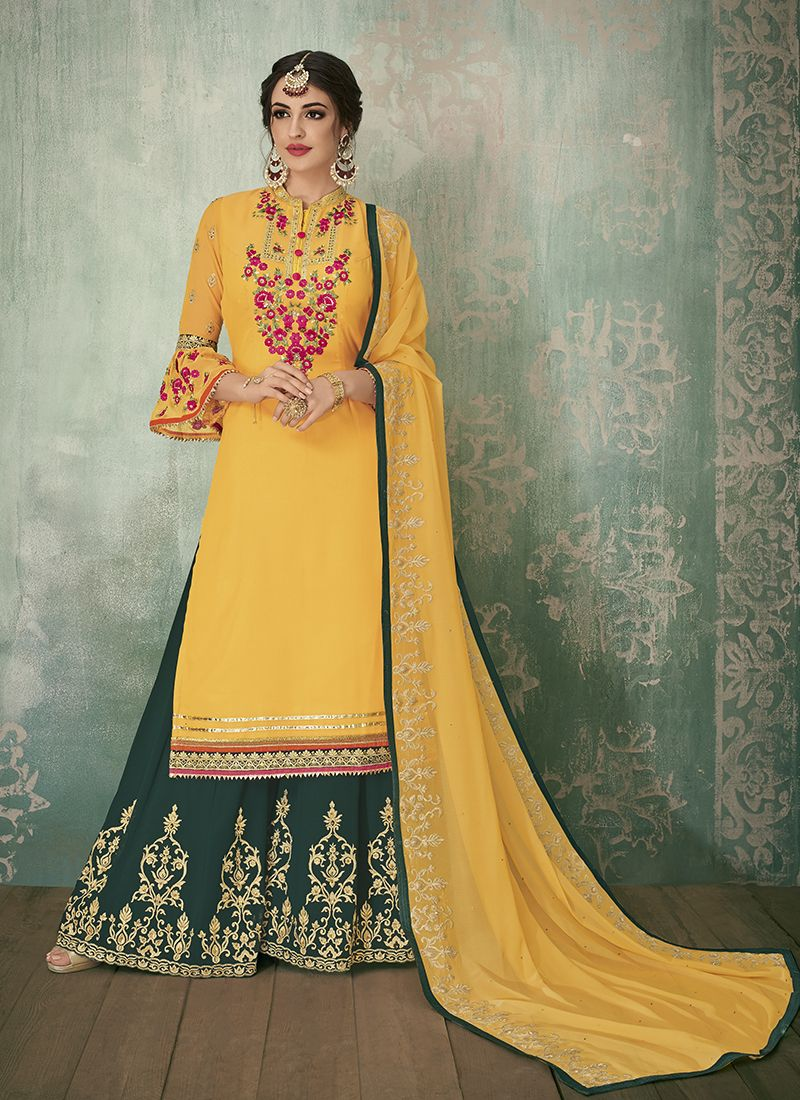Yellow Faux Georgette Resham Designer Pakistani Suit