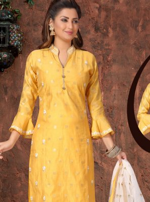 Yellow Festival Art Silk Readymade Suit