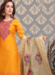 Yellow Festival Chanderi Churidar Designer Suit