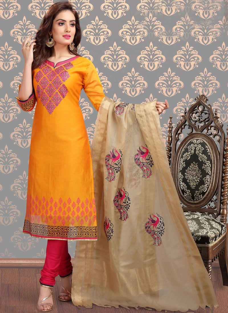 Yellow Festival Chanderi Churidar Designer Suit