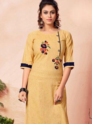 Yellow Festival Cotton Party Wear Kurti