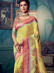 Yellow Festival Cotton Silk Traditional Designer Saree