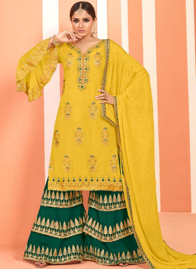 Yellow Festival Faux Georgette Designer Pakistani Suit