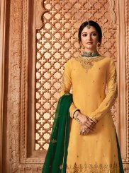 Yellow Festival Georgette Satin Designer Pakistani Suit