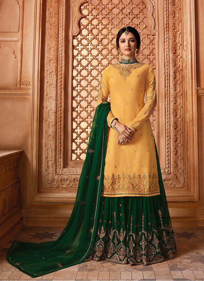 Yellow Festival Georgette Satin Designer Pakistani Suit