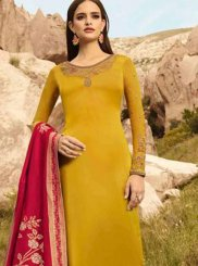 Yellow Festival Georgette Satin Designer Straight Suit