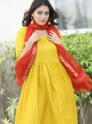Yellow Festival Rayon Readymade Suit
