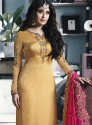 Yellow Georgette Satin Churidar Salwar Suit