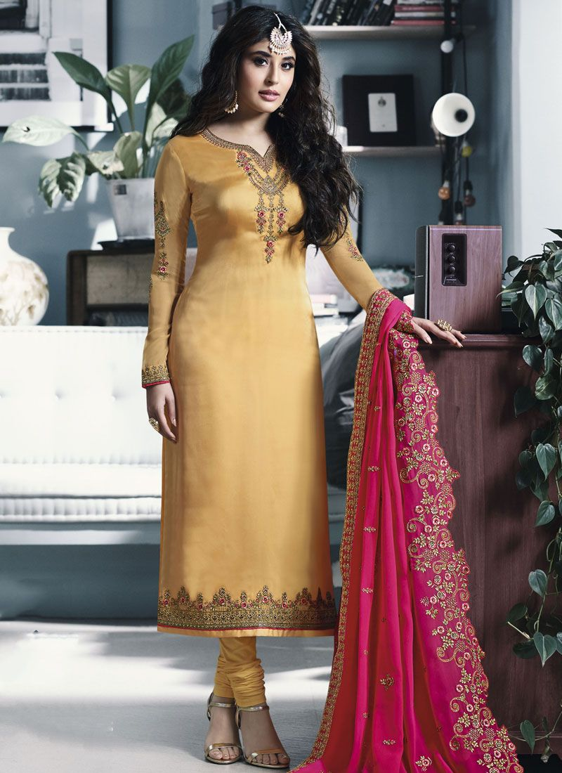 Yellow Georgette Satin Churidar Salwar Suit
