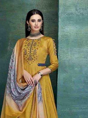 Yellow Georgette Satin Designer Palazzo Salwar Kameez