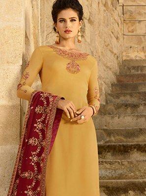 Yellow Georgette Satin Festival Churidar Designer Suit