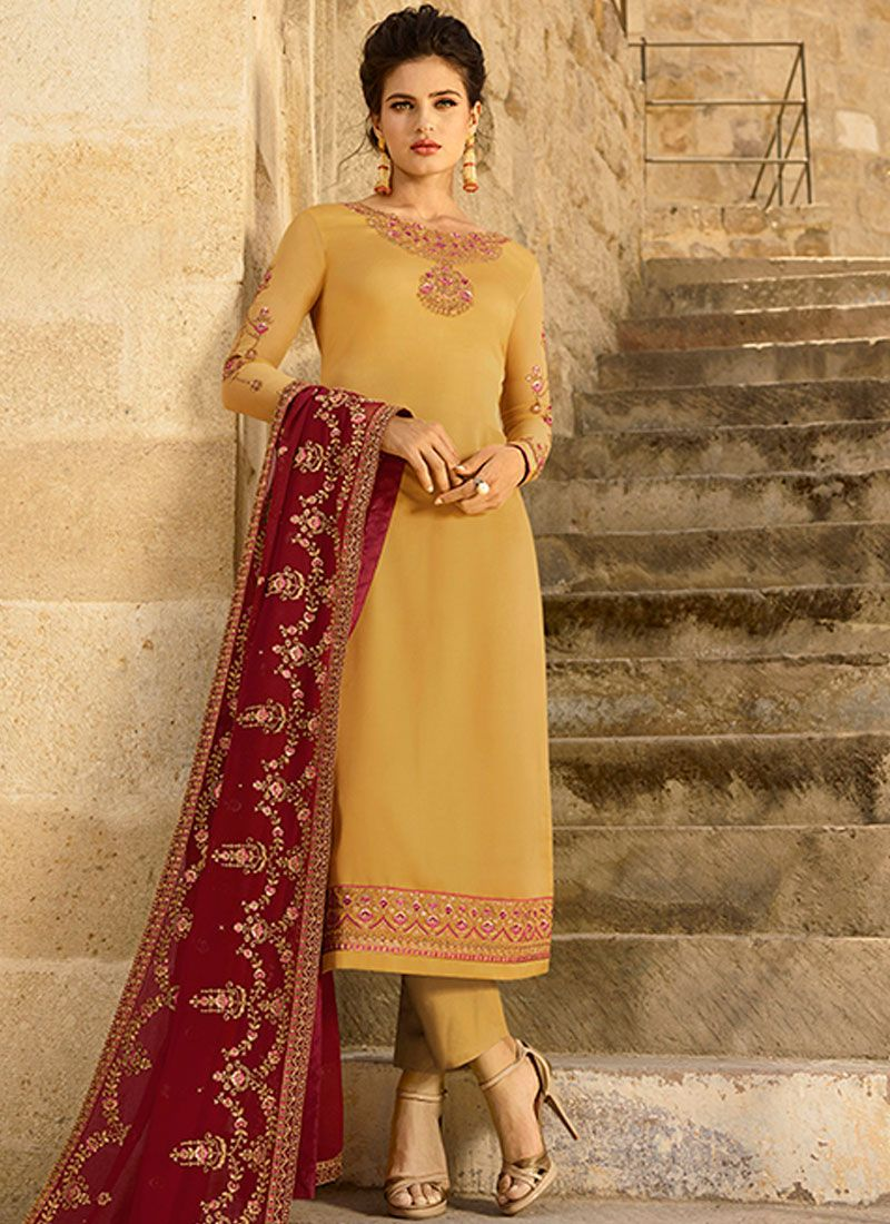 Yellow Georgette Satin Festival Churidar Designer Suit