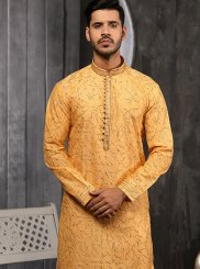 Yellow Jacquard Embroidered Indo Western