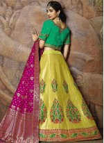 Yellow Jacquard Silk Sangeet Designer Lehenga Choli
