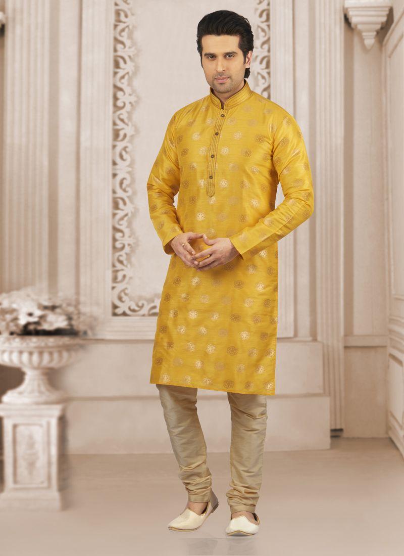 Yellow Jacquard Silk Wedding Kurta Pyjama